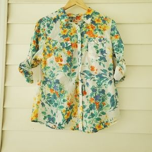 👌3for20 Womens floral button down casual blouse